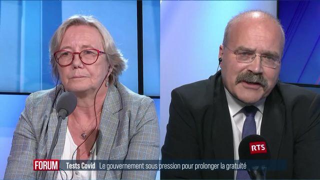 Le Conseil fédéral sous pression pour garder la gratuité des tests Covid : débat entre Laurence Fehlmann Rielle et Philippe Bauer (vidéo) [RTS]