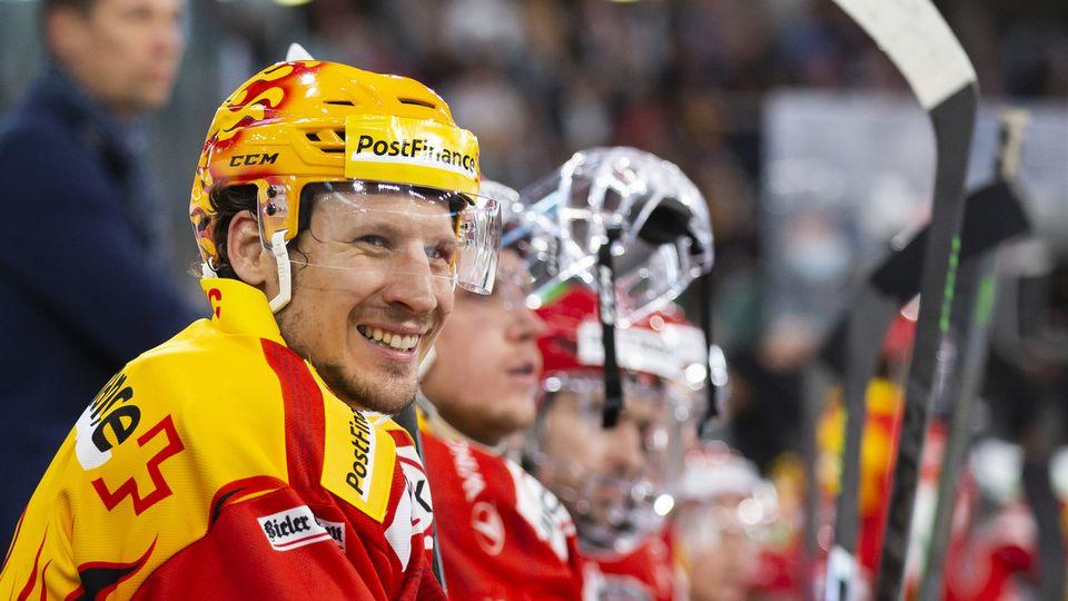 Tout sourit actuellement pour Damien Brunner et le HC Bienne. [Peter Klaunzer]