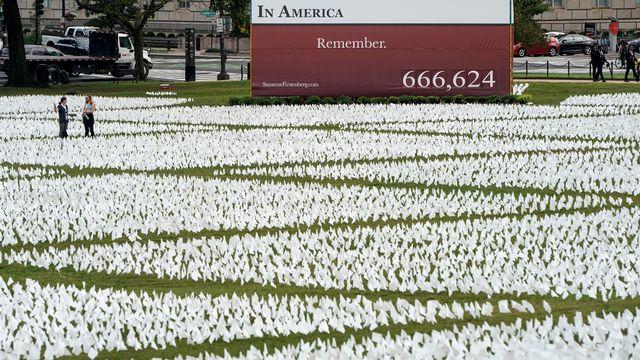 Des drapeaux blancs représentants les morts du Covid-19, le long du National Mall, à Washington. [JOSHUA ROBERTS - REUTERS]