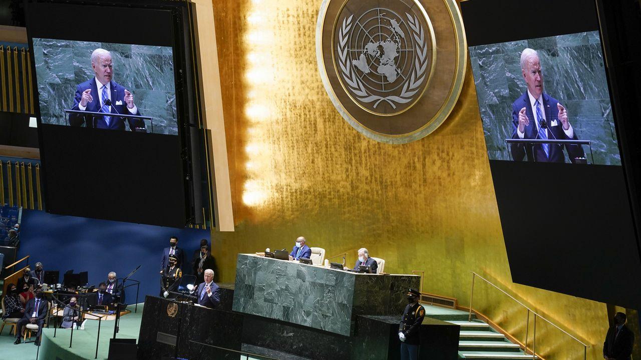 Le président américain Joe Biden parle devant la 76e session de l'Assemblée générale des Nations Unies. New York, le 21 septembre 2021. [Evan Vucci - Keystone/AP photo]