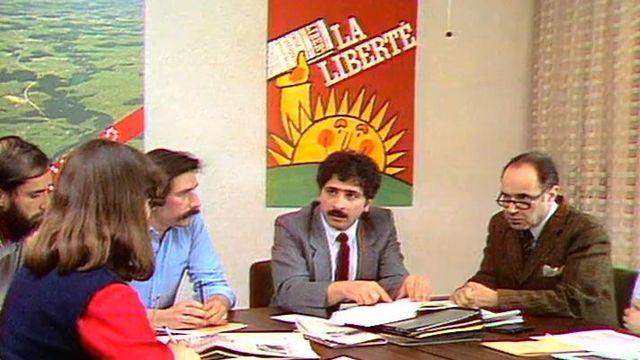 Séance de rédaction du journal La liberté en 1983, en présence du rédacteur en chef François Gross [RTS]