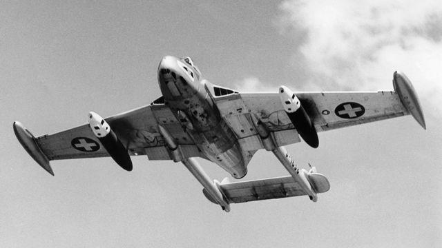 Un avion de Havilland Vampire DH 110 de l'aviation suisse, 1981 [Keystone]