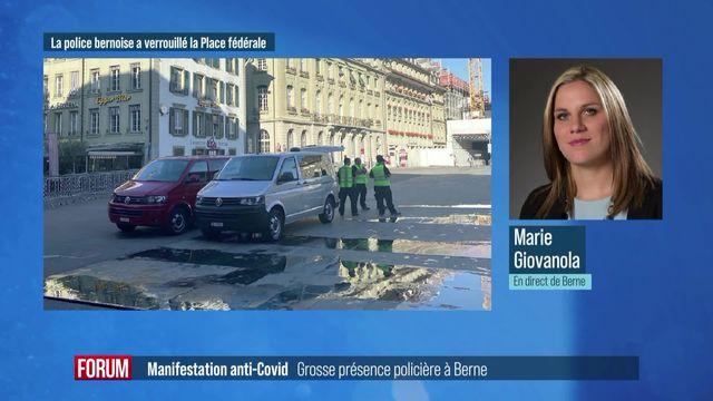 Manifestation anti-mesures Covid: importante présence policière à Berne [RTS]