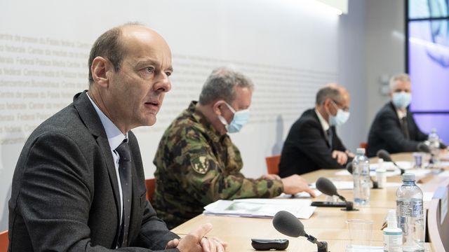 La Confédération va commencer l'an prochain les travaux préparatoires à Mitholz (BE) pour limiter les risques d'une explosion et pour préparer l'évacuation du dépôt de munitions. Une procédure d'autorisation de construire est lancée. [PETER SCHNEIDER - KEYSTONE]