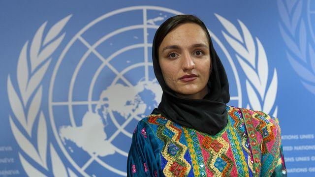 L'ex-maire Zarifa Ghafari témoigne de la situation humanitaire catastrophique en Afghanistan. [Salvatore Di Nolfi - Keystone]