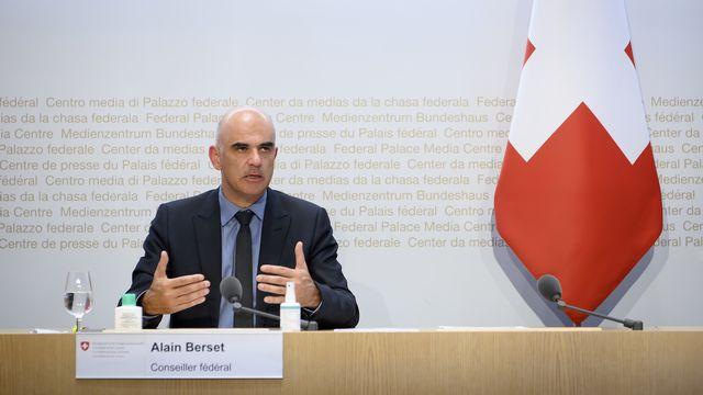 Alain Berset lors de la conférence de presse du vendredi 24 septembre. [Anthony Anex - Keystone]