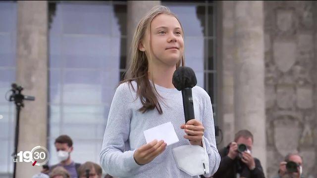 L'activiste Greta Thunberg plaide pour le climat à Berlin devant 40'000 manifestants écologistes, à deux jours des élections législatives allemandes [RTS]