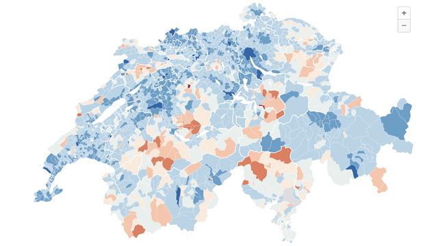 Les cartes des résultats des votations fédérales, commune par commune. [RTS]