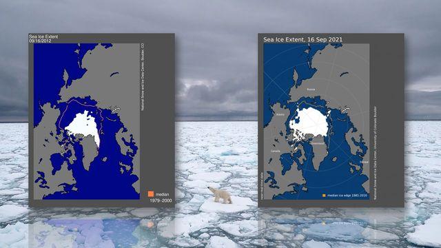 Etendue minimales des glaces arctiques en 2012 (à gauche) et en 2021 (à droite) [JJ Kischloffer - NSIDC(AFP]