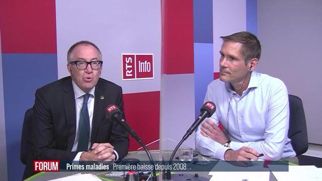 Baisse des primes maladie: les réactions de Michel Matter et Christophe Kaempf (vidéo) [RTS]