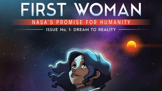 """La couverture de """"First Woman"""", récit écrit par la NASA. [NASA]"""