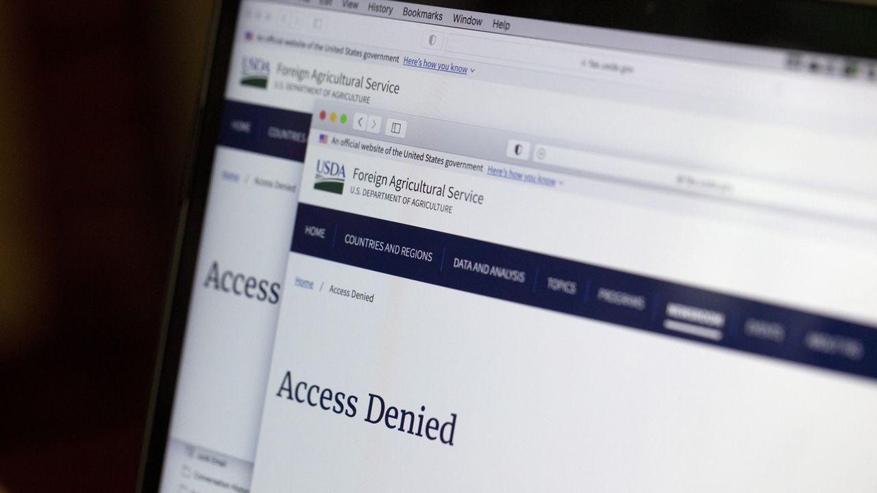 Un écran annonce que l'accès est refusé à un site gouvernemental américain. [Jenny Kane - AP/Keystone]