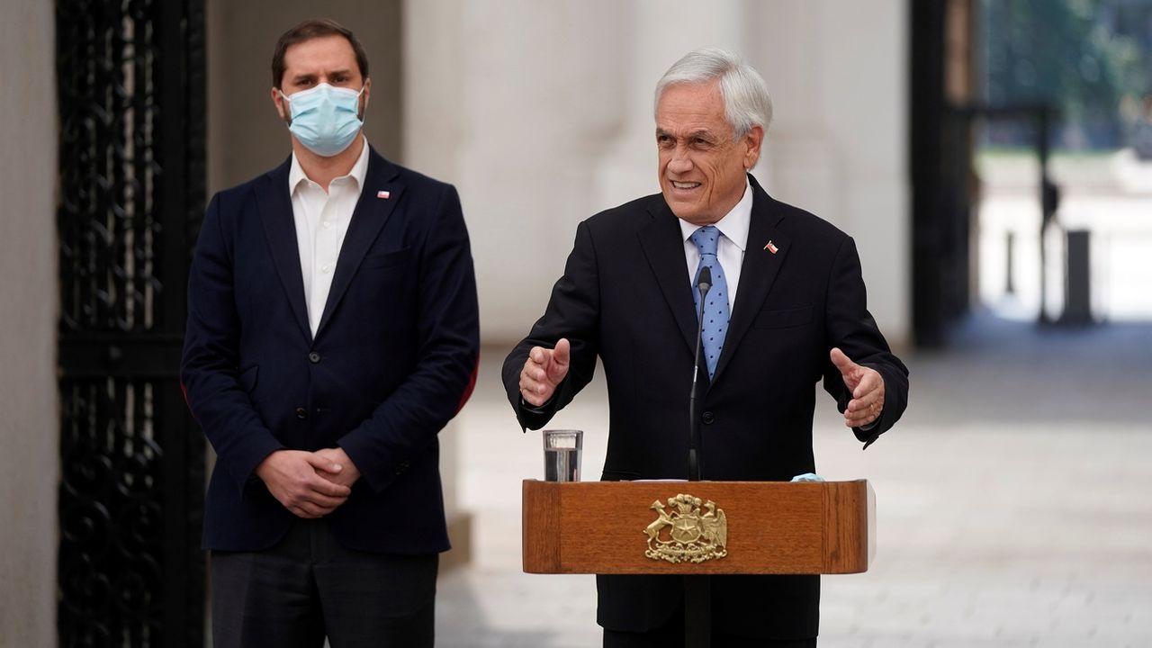 Le président chilien Sebastian Piñera au Palacio de la Moneda. Santiago, le 4 octobre 2021. [EPA/Presidency of Chile - Keystone]