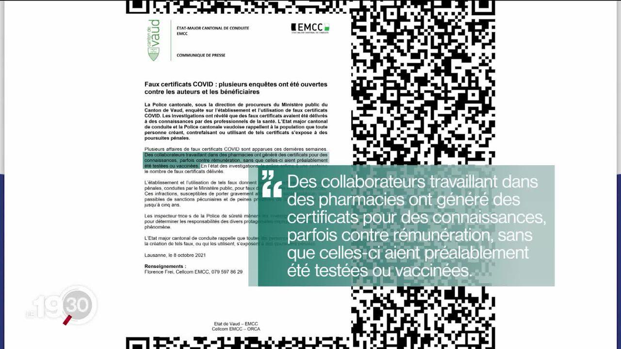Dans le canton de Vaud, des enquêtes ont été ouvertes vendredi en raison de centaine de certificats sanitaires frauduleux. [RTS]