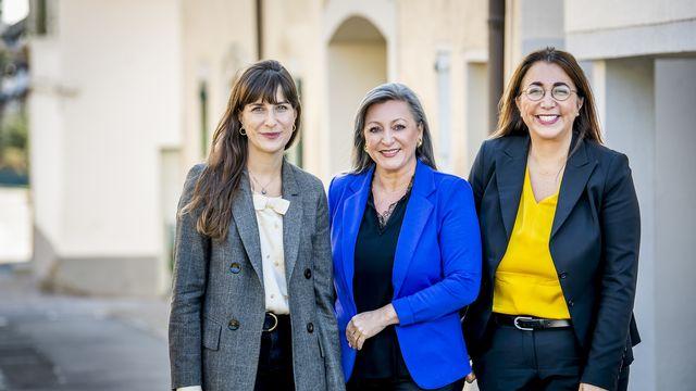 Les trois socialistes du Conseil d'Etat vaudois repartent pour un tour. Nuria Gorrite, Cesla Amarelle et Rebecca Ruiz souhaitent se représenter aux élections cantonales de mars prochain. [JEAN-CHRISTOPHE BOTT - KEYSTONE]