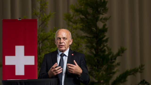 Le conseiller fédéral en charge des finances Ueli Maurer lors de l'Assemblée des délégués de l'UDC Suisse, le samedi 21 août. [Jean-Christophe Bott - KEYSTONE]