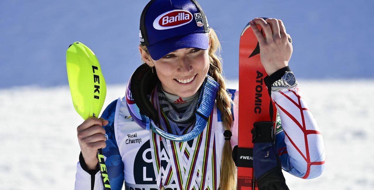Mikaela Shiffrin visera les globes et les médailles en 2022. [Jean-Christophe Bott - Keystone]