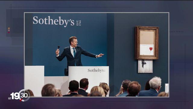 """La chronique Vu revient sur l'œuvre de Banksy """"L'amour est dans la poubelle"""", adjugée 16 millions de livres jeudi à Londres [RTS]"""