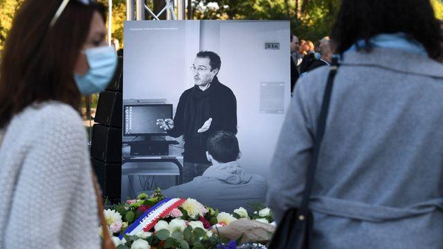 La France rend hommage à l'enseignant assassiné il y a un an. [Alain Jocard - AFP]