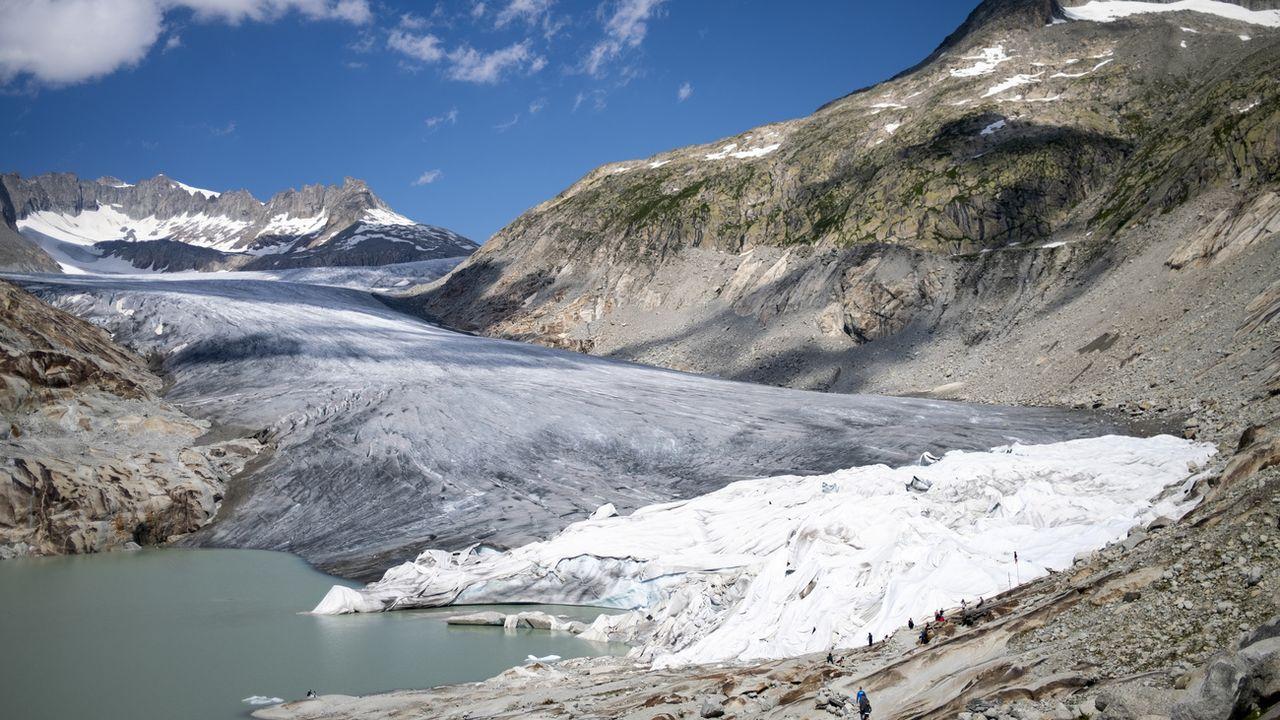 Le glacier du Rhône photographié en août 2021. [Laurent Gillieron - Keystone]