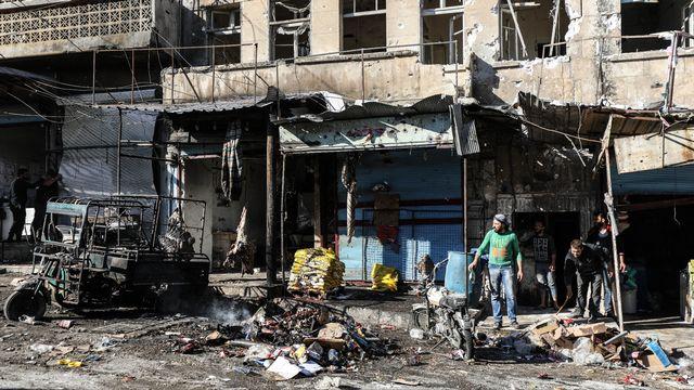 Une vue des dégâts causé par les bombardements du régime syrien dans la ville rurale d'Ariha à Idlib, dans le nord-ouest de la Syrie, le 20 octobre 2021 [Izzettin Kasim / Anadolu Agency - AFP]