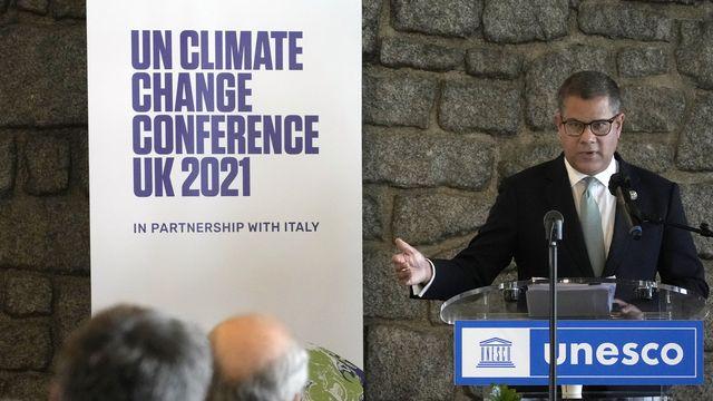 Le président de la COP26, Alok Sharma lors de la conférence de presse le 12 octobre 2021 à Paris. [Christophe Ena - Keystone]