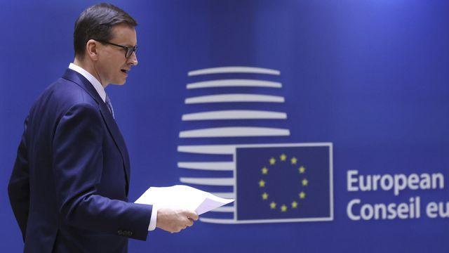 Le Premier ministre polonais Mateusz Morawiecki au sommet de l'Union européenne. [Yves Herman - EPA/Keystone]