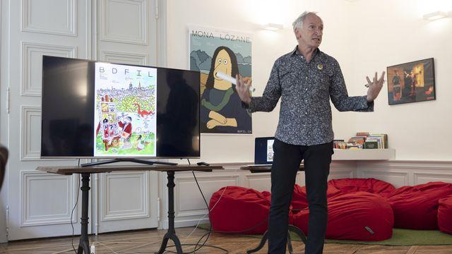 Le désormais ex-directeur de BDFIL, Dominique Radrizzani, ici lors de la présentation de l'édition 2021 du festival à Lausanne, le 23 juin 2021. [Cyril Zingaro - KEYSTONE]