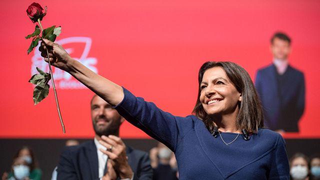 Anne Hidalgo devant les militants du PS à Lille, samedi 23.10.2021. [Thomas Lo Presti - AFP]