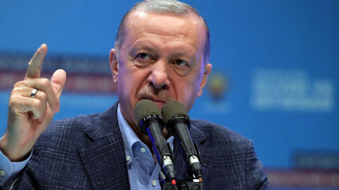 Le président Erdogan a évoqué le cas des ambassadeurs lors d'un déplacement dans le centre de la Turquie. [Murat Cetinmu - Turkish Presidency/Anadolu Agency/AFP]